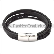 Stainless Steel Leather Bracelet b009808H2