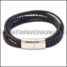 Stainless Steel Leather Bracelet b009807H3