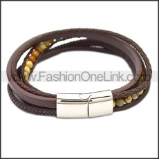 Stainless Steel Leather Bracelet b009808K1