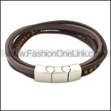 Stainless Steel Leather Bracelet b009808K3
