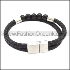 Stainless Steel Leather Bracelet b009809H1