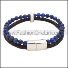Stainless Steel Leather Bracelet b009811H