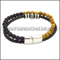 Stainless Steel Leather Bracelet b009815H