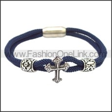 Stainless Steel Leather Bracelet b009813B