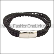 Stainless Steel Leather Bracelet b009816H