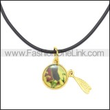 Rubber Necklace W Stainless Steel Clasp n003195HG
