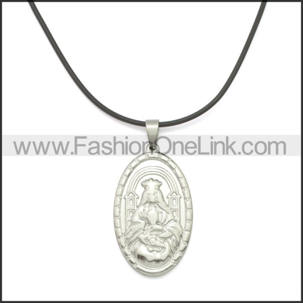 Rubber Necklace W Stainless Steel Clasp n003174HS1