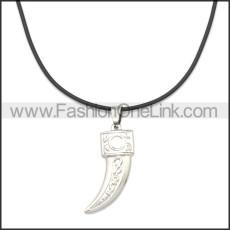 Rubber Necklace W Stainless Steel Clasp n003175HS2