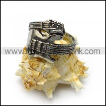 Vintage Silver Stainless Steel Guitar Ring for Music Lovers r005069