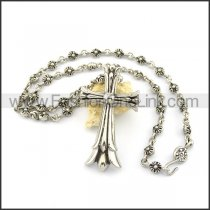 Unique Cross Casting Necklace n000632