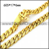 Yellow Gold Plating Stainless Steel Heavy Weight Link Chain Necklace n001429