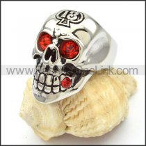 Stainless Steel Red Eyes Skull Ring   r000473