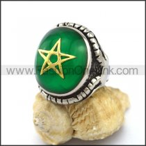 Pentacle Stainless Steel Stone Ring    r003122