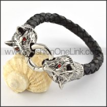 Two Red Eyes Wolves Bite a Ring Black Leather Bracelet b000442