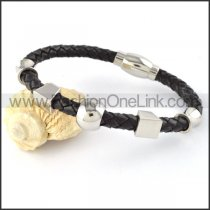 Black Leather Bracelet with Silver Bead b000445