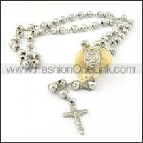 Cross Rosary Necklace with Silver Beads     n000274