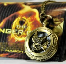 Big Size Vintage Brass Hunger Games Pocket Watch Chain PW000097