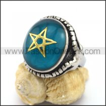 Pentacle Stainless Steel Stone Ring r003121