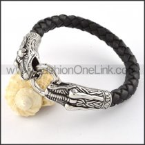 Two Snakes Bite a Ring Black Leather Bracelet b000441