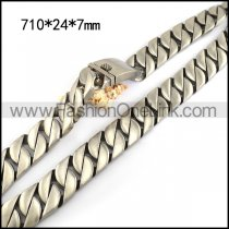 24MM Wide Heavy Weight Matte Casting Link Necklace n001484