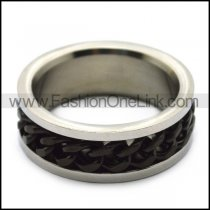 Rotatable Spinner Black Chain Ring as Relax Toys r005378