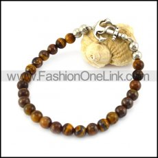 Tiger Eye Stone Bracelet with Anchor Charm b006107
