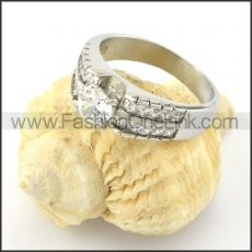Stainless Steel Comfort Fit Design Zircon Stone Ring r000598