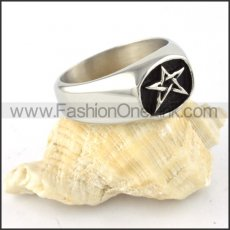 Stainless Steel Five Pointed Star Ring r000313