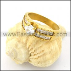Stainless Steel Zirconia Center Stone Ring  r000599