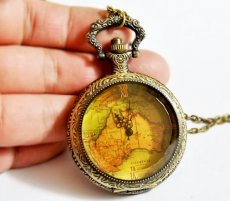 Vintage Map Pocket Watch Chain PW000111