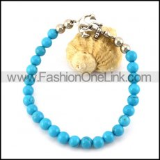 Light Blue Rosary Beads Bracelet with Steel Anchor Charm b006114