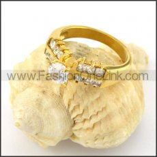 Stainless Steel Zircon Stone  Ring r000597