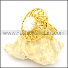 Stainless Steel Flower Hollowed-out Design Plating Ring r000615
