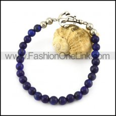 Blue Stone Beads Bracelet with Anchor Charm b006113