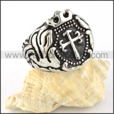 Stainless Steel Punk Design Crown Cross Ring r000312