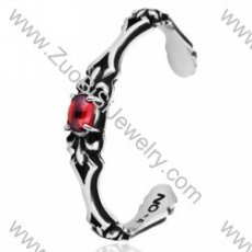 Ruby Stone Stainless Steel Bangles - JB350004