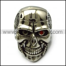 big skull ring with 2 red eyes r005222