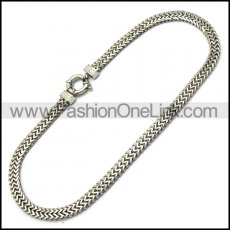 Herringbone Stainless Steel Chain Necklace with Mirror Finishing in 18.4 inch long 8mm wide n002153