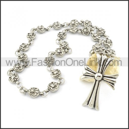 Cross and Flower Casting Necklace   n000488