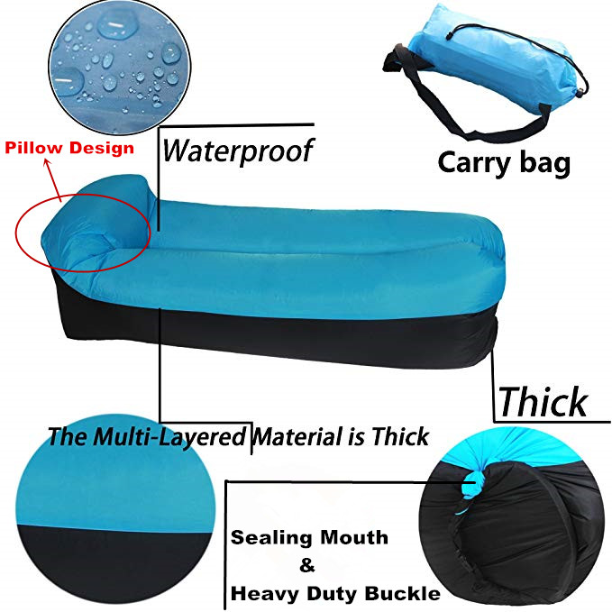 Beach Garden Swimming Pool Inflatable Lounger Portable Lazy Lounger Inflatable Sofa Couch Outdoor Sofa for Camping Waterproof Air Lounger with Thicker Fabric Travelling Easy Setup Hiking
