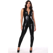 woen sexy leather jumpsuit 1102