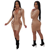 9098 V neck solid bodycon dress women hot sale midi dress