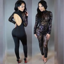 N252 sequin jumpsuit for women