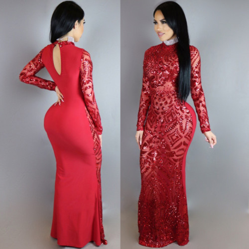 N301 sexy sequin maxi dress