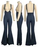 9110 women high-waisted suspenders bell bottom jeans