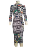 9100 women bodycon printed dress