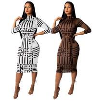 9069 women long sleeve bodycon dress