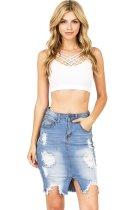 6057 women ripped holes jeans skirt