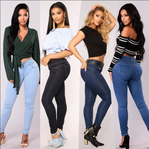 6033 ladies' wide waist small feet long jeans pants