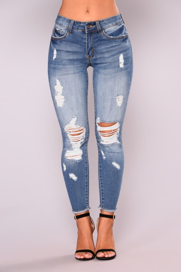 6032 women ripped jeans high-elastic ninth jeans pant